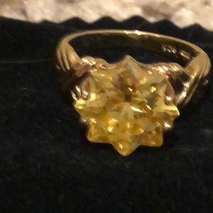 Vintage sterling silver ring with yellow stone
